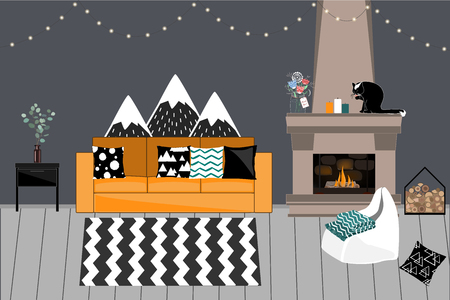Cozy Vector interior in Scandinavian style. Living room with Fireplace, comfortable bright Sofa with Pillows, Dark Grey Wall, Garlands, and Chair