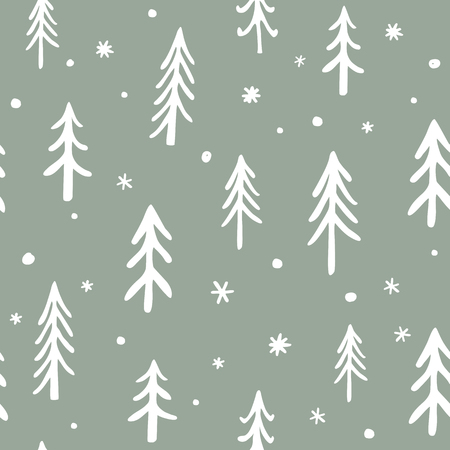 Seamless stylish pattern with cute hand drawn Doodle Pine Trees. Vector Outline illustration, Green and White