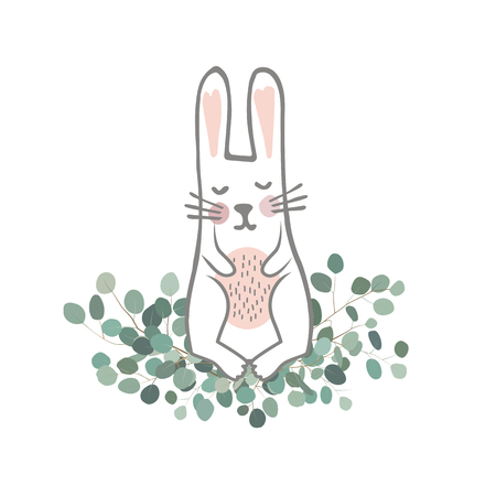 Cute hand drawn bunny on the Eucaliptus branches. Easter Vector illustration. Sweet Newborn Rabbit Character.