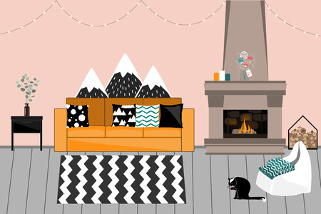 Cozy Vector interior in Scandinavian style. Living room with Fireplace, comfortable bright Sofa with Pillows, Garlands, Chair, and funny Cat Foto de archivo - 125006635