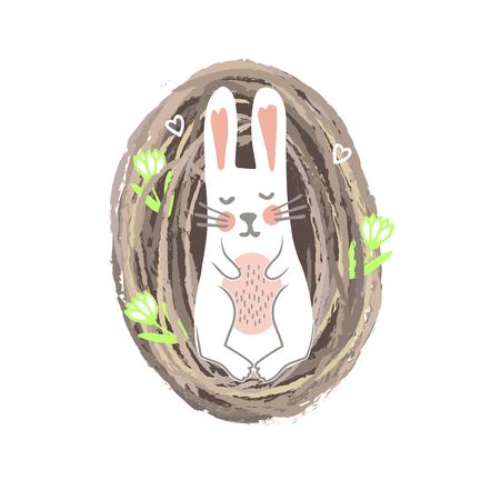 Newbor Easter Bunny Lying in th Nest. Spring or Nursery Print, Vector Illustration Stock Illustratie