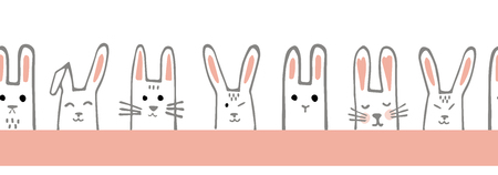 Seamless horizontal pattern with bunny faces. Rabbits Vector border or tape.