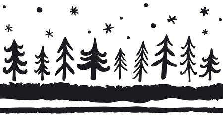 Vector hand-drawn seamless pattern with doodle pine trees. Christmas Scandinavian Nordic Background. Black and White