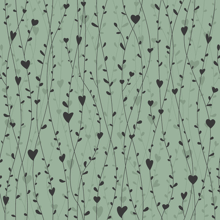 Cute seamless pattern with hearts branches for retro wallpapers, textile prints, bedding, or cards. Vector illustration Ilustração