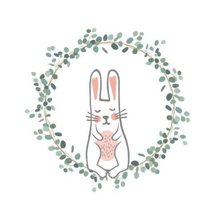 Easter Eucalyptus Wreath with a Sweet Bunny. Vector Hand Drawn illustration