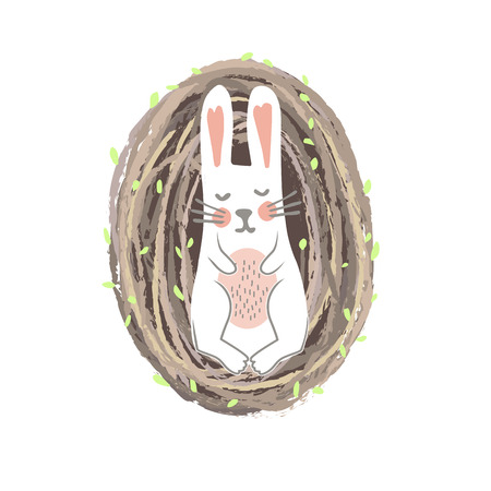 Sweet Newborn Easter Bunny Lying in the Willow Nest. Spring or Nursery Print, Vector Illustration