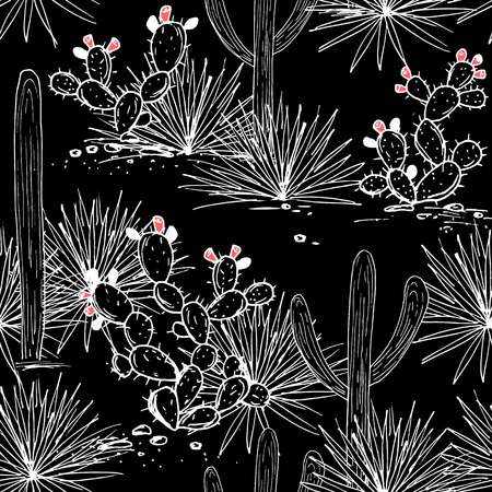 Hand drawn seamless pattern with sketch saguaro, blue agave, and prickly pear. Latin American background. Black and white outline palette. Vector illustration.