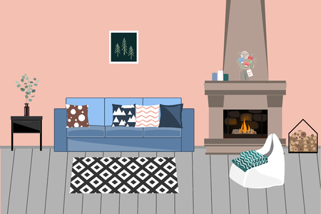 Cozy Vector interior in Scandinavian style. Living room with Fireplace, comfortable bright Sofa with Pillows, Chair, and flowers