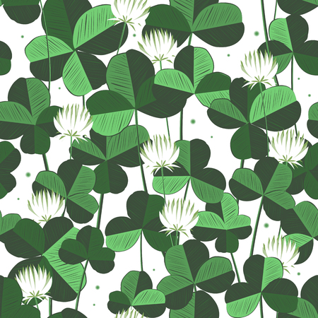 Floral vecror seamless pattern with clover leaves and flowers. Saint Patricks day background with shamrock. Ireland symbol of lucky ornament. Design with clover leaves for decor card, web site, wrapping, textile