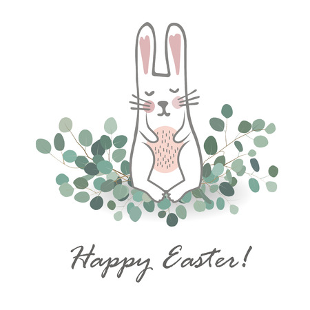 Cute hand drawn bunny on the Eucaliptus branches. Easter Hand Drawn Vector illustration. Sweet Newborn Rabbit Character.
