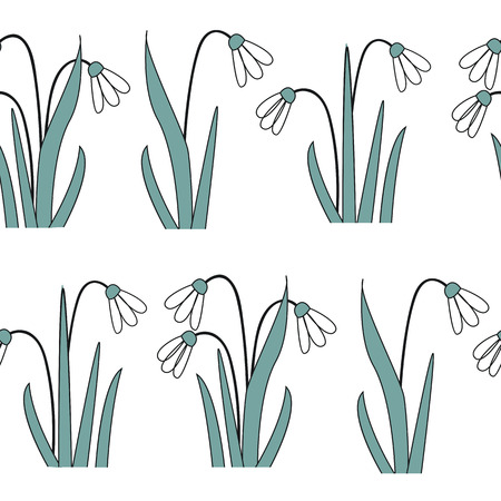 Seamless pattern with the first spring flowers . Vector illustration with graphic snowdrops, white background Ilustração