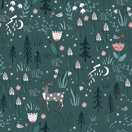 Spring forest seamless pattern with deer, birds, flowers, and trees. Gentle Vector spring wood background Ilustração