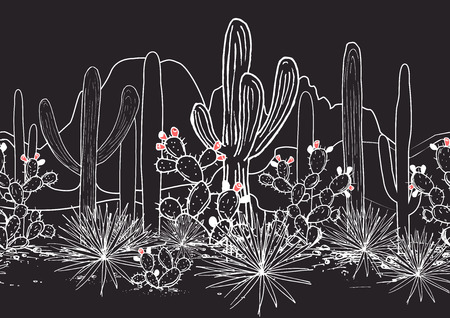 Vector seamless pattern with cacti, and mountains. Wild cactus Mexican forest with agave, saguaro, and prickly pear. White, black, and pink palette Ilustração