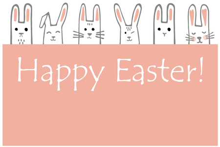Happy Easter banner with bunny faces. Rabbits border or greeting card. Vector Illustration