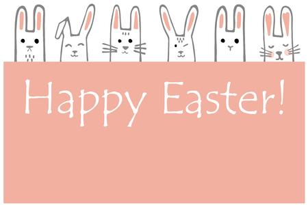 Happy Easter banner with bunny faces. Rabbits border or greeting card. Vector Illustration Ilustração