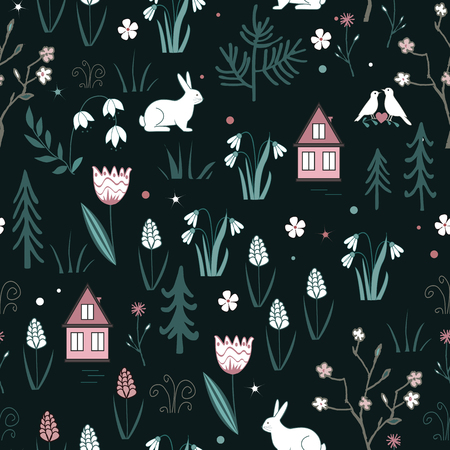 Spring forest seamless pattern with rabbits, birds, flowers, houses and trees. Gentle Vector spring wood background