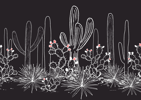 Vector seamless pattern with cacti. Wild cactus Mexican forest with agave, saguaro, and prickly pear. White, black, pink palette