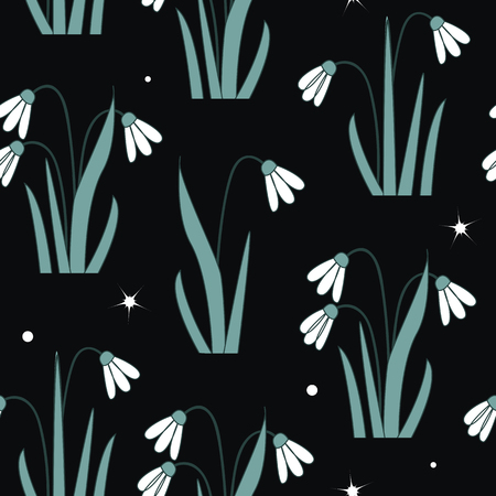 Seamless pattern with the first spring flowers. Vector illustration with graphic snowdrops, black background