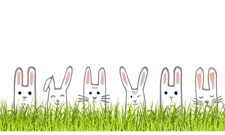 Happy Easter banner with bunny faces and grass. Rabbits border or greeting card. Vector Illustration