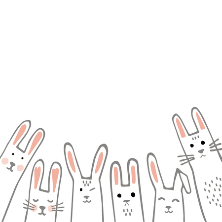 Happy Easter banner frame with funny bunny faces. Rabbits border or greeting card. Vector Illustration