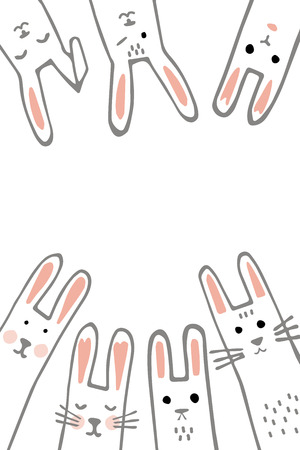 Happy Easter banner frame with funny bunny faces. Rabbits border or greeting card. Vector Illustration Ilustração