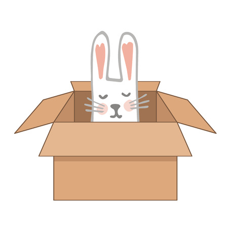 Surprise Craftboard Box with Happy Dreaming Easter Bunny. Vector illustration 矢量图像
