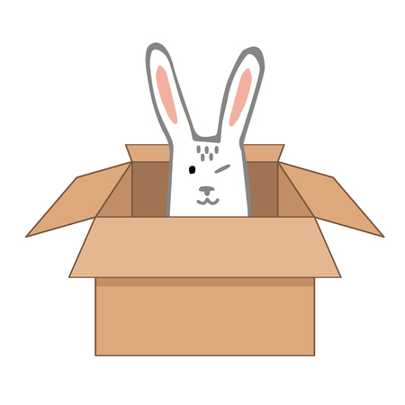 Surprise Craftboard Box with Happy Easter Bunny. Vector illustration