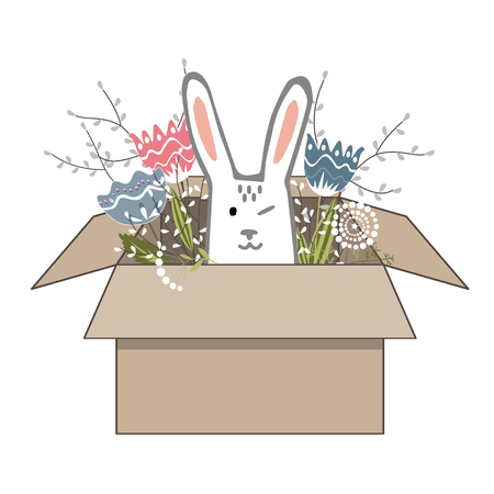 Hand drawn vector illustration of cute romantic bunny girl with flower in the cardboard box. Print can be used for kids or baby shirts, Easter or fashion design Ilustração