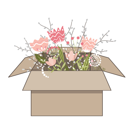 Gift cardboard box with beautiful spring doodle flowers on white background. Vector illustration. Ilustração