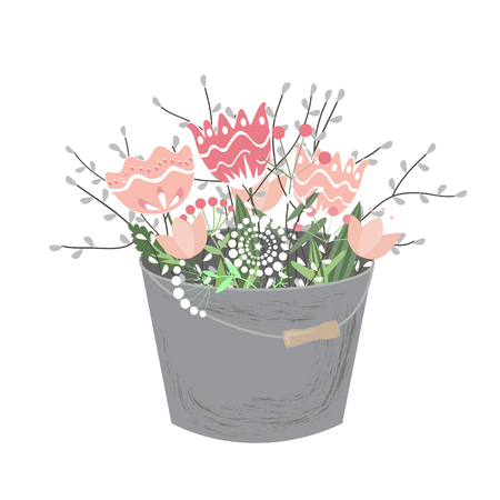 Bouquet of spring doodle flowers in grey bucket isolated on white background. Vector illustration. Spring floral composition
