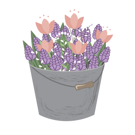 Bouquet of spring doodle hyacinths and tulip flowers in grey bucket isolated on white background. Vector illustration. Spring floral composition.