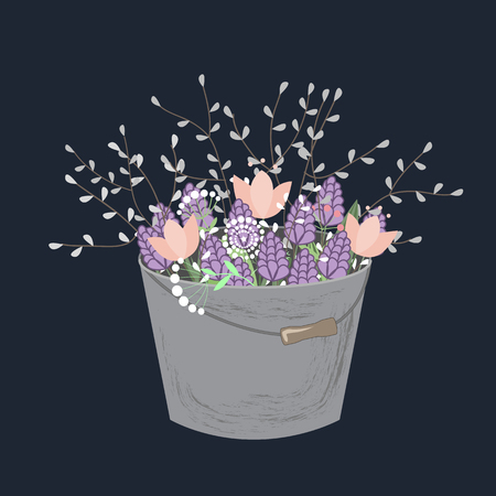 Bouquet of spring doodle flowers in grey bucket isolated on white background. Vector illustration. Spring floral composition with hyacinths, tulips, and willow branches Ilustração