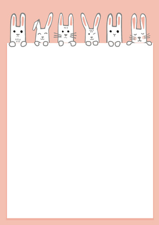 Happy Easter banner with bunny faces and paws. Rabbits border or greeting card. Vector Illustration Ilustração