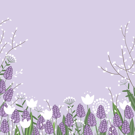 Vector spring flowers colorful card. Willow branches, hyacinths and tulip flowers. Place for text