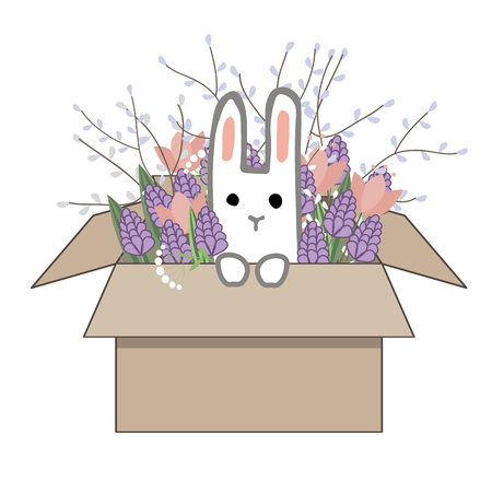 Bouquet of spring doodle hyacinths and tulip flowers in cardboard box with a sweet bunny isolated on white background. Vector illustration. Spring or Easter greeting card Ilustração