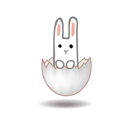 Happy Easter card design. Sweet bunny inside a cracked easter egg. Doodle hand drawn vector illustration. Nursery print