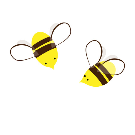 Too Sweet and Busy Honey Bees. Cartoon Vector Illustration. Cute insects couple. Design element for labels, prints, or cards.