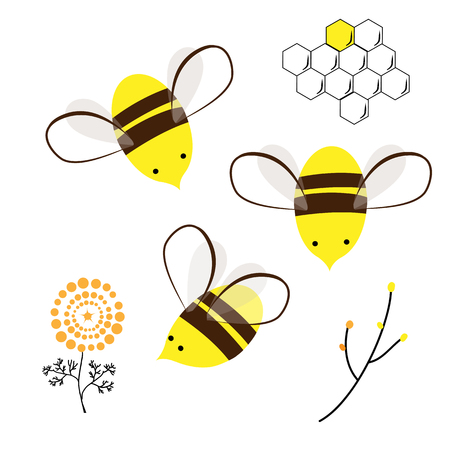 Cute Bee, Doodle Flowers, and Honey Comb set. Vector Design Elements for Labels, Baby Prints, or Cards Ilustração