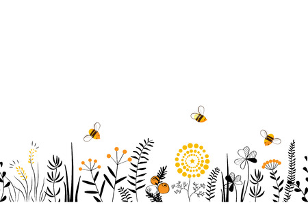 Vector nature seamless background with hand drawn wild herbs, flowers and leaves on white. Doodle style cartoon floral illustration. Ilustração