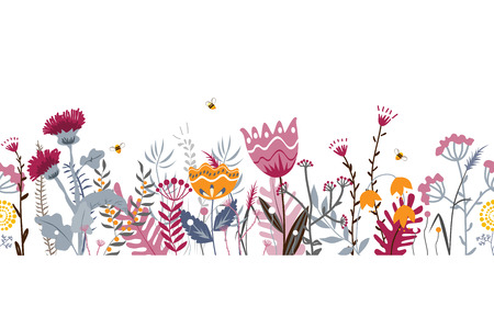 Vector nature seamless background with hand drawn wild herbs, flowers and leaves on white. Doodle style floral illustration. Floral border Ilustração