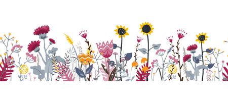 Nahtloser Hintergrund der Vektornatur mit Hand gezeichneten wilden Kräutern, Blumen und Blättern auf Weiß. Gekritzelart Blumenillustrationsgrenze Vektorgrafik
