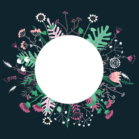 Round meadow flower doodles wreath hand drawn isolated on white for greeting card or text, vector illustration Ilustração