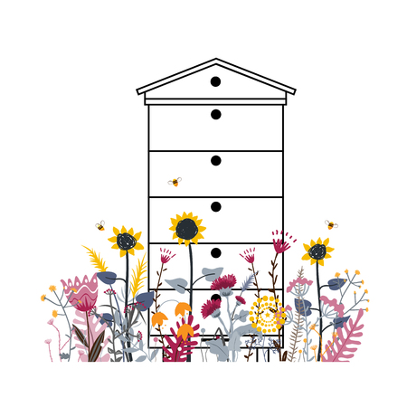 Bright flower meadow with beehive in summer. Apiary concept. Mix difference colour of rural flower. A lot of various beautiful flowers and busy bees . Sunny country day.