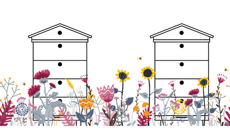 Bright seamless meadow border with beehives, bees, and flowers. Vector. Apiary concept. Doodle rural flowers and herbs. Sunny country day illustration for beekeeping and cards design. 일러스트
