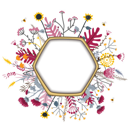 Hexagon Frame with cute honey flowers and bees. Cartoon vector illustration. Grasslend Honey Concept for labels, cards, and packaging