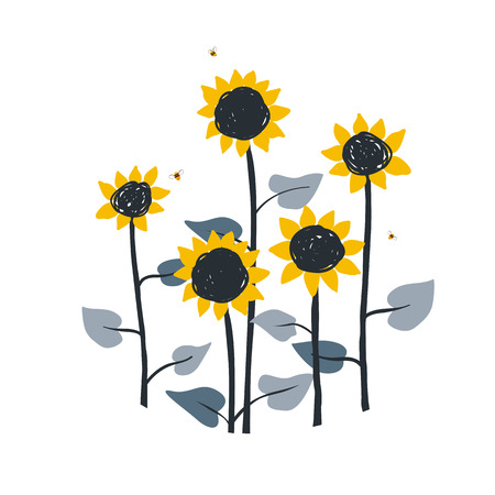 Doodle floral illustration with wild meadow sunflowers, isolated on white background. Vector element for sunflowers honey packaging, label or card template, for book, cover, banner.