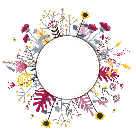 Round flower doodles wreath hand drawn isolated on white for greeting card or text, vector illustration