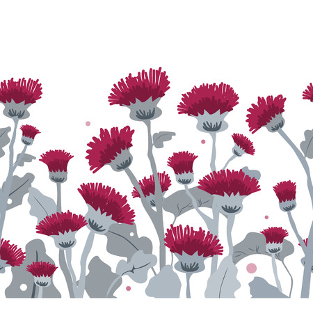 Thistle. Vector seamless border pattern. Hand drawn cartoon illustration on a white background.