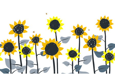 Sunflowers. Vector horizontal border seamless pattern. Hand drawn doodle sunflowers on a white background.