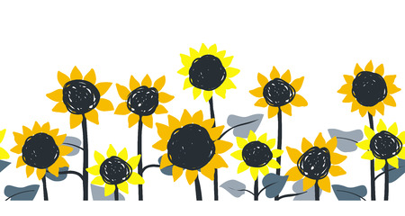 Sunflowers. Vector horizontal border seamless pattern. Hand drawn sunflowers on a white background.